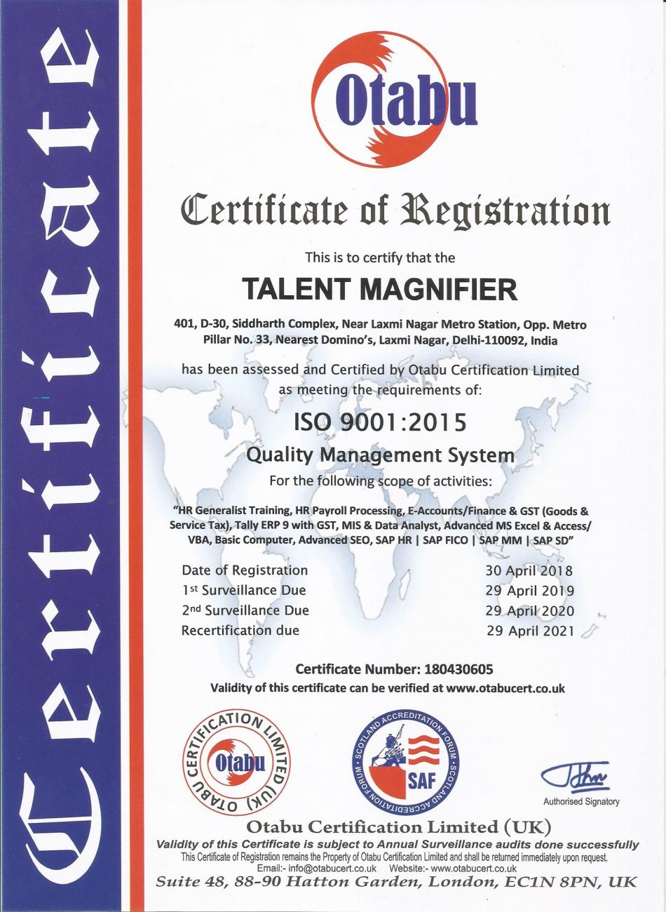 iso certification of talent magnifier